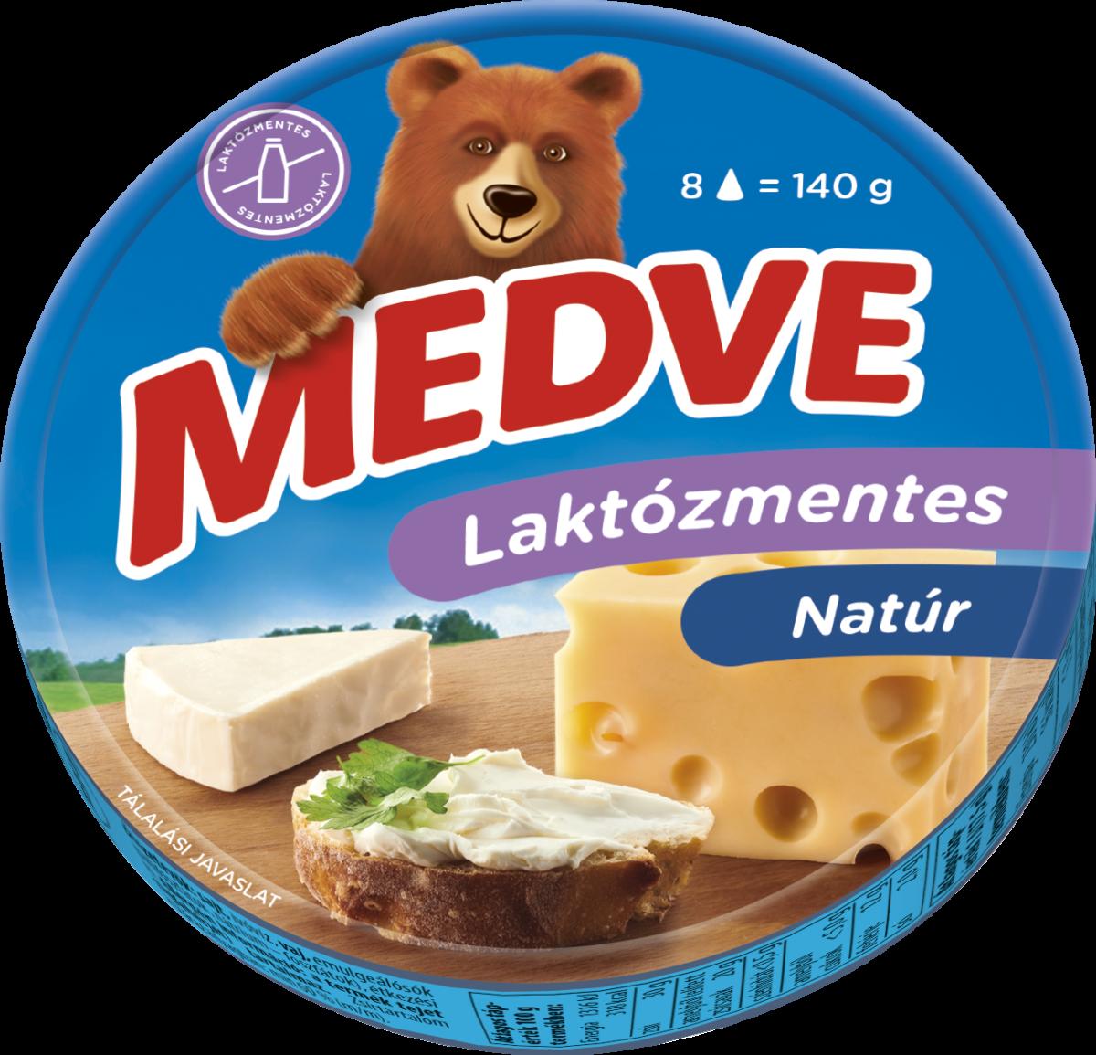 Medve laktózmentes natúr kördobozos kockasajt 140g