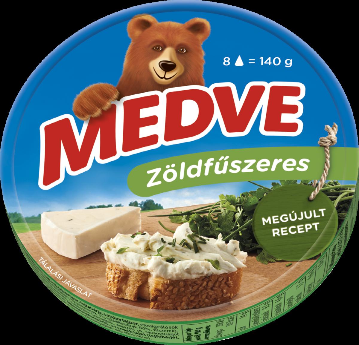 Medve zöldfűszeres kördobozos kockasajt 140g