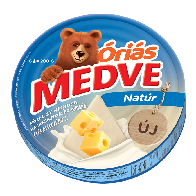 Medve Óriás natúr kockasajt