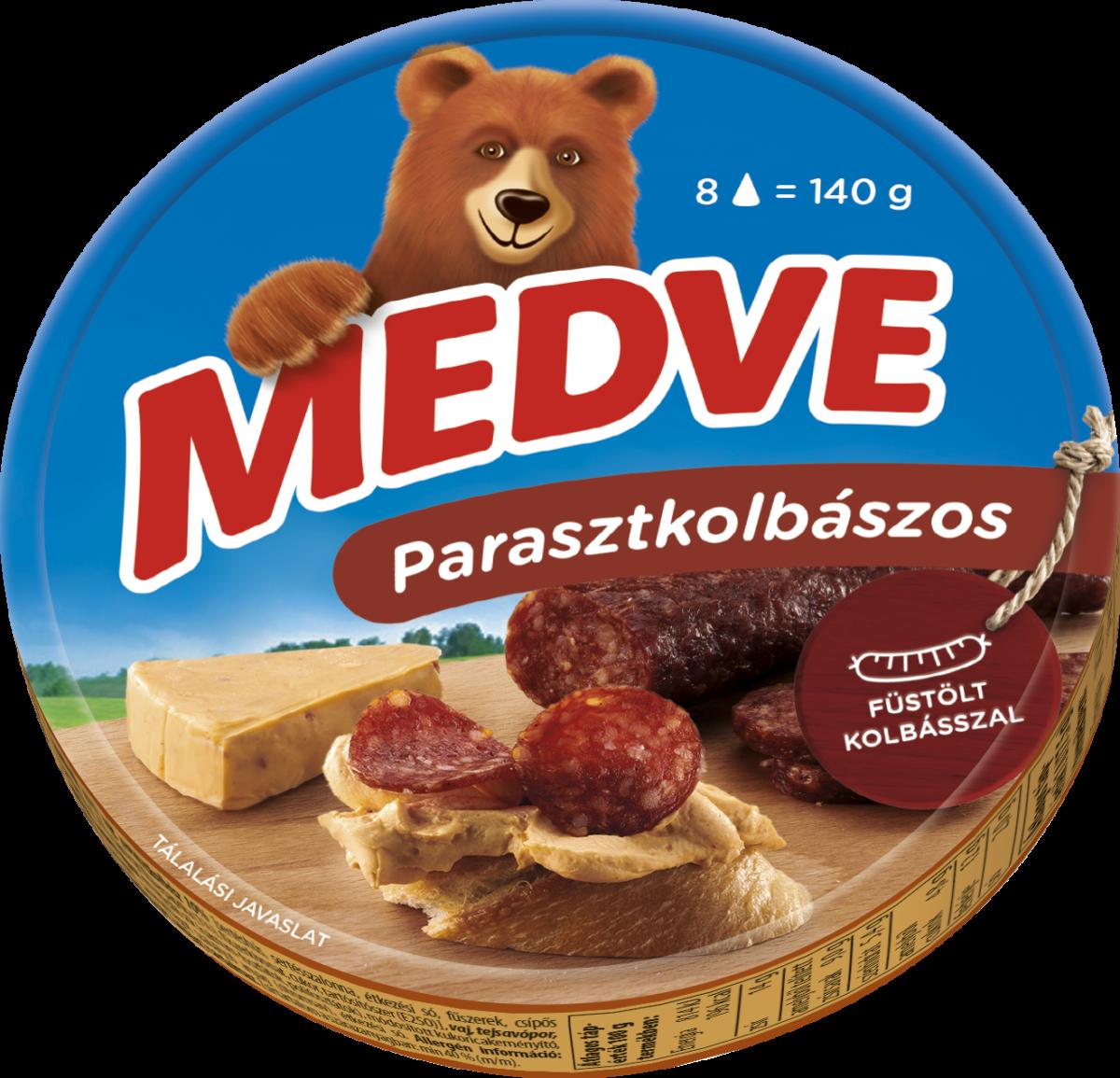 Medve parasztkolbászos kördobozos kockasajt 140g